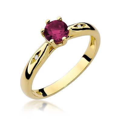 Pierścionek zaręczynowy z rubinem złoto 585