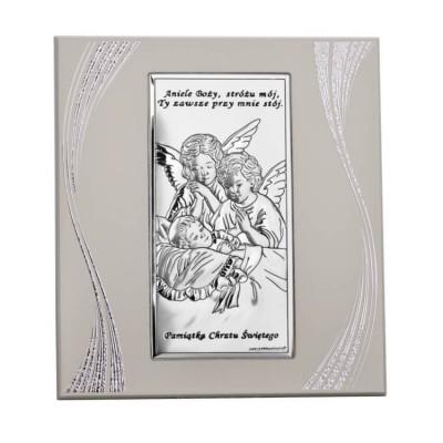 obrazek srebrny na chrzest