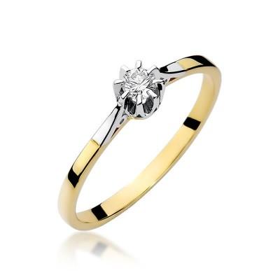 Pierścionek zaręczynowy złoty z brylantem - 0,10ct