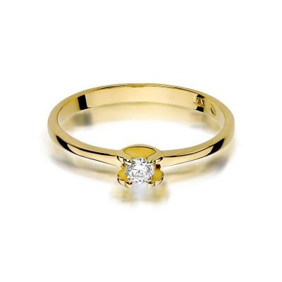 Elegancki pierścionek zaręczynowy żółte złoto z brylantem SB-W-386