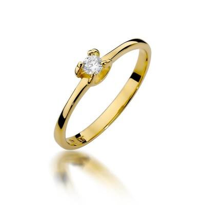 Elegancki pierścionek zaręczynowy żółte złoto z brylantem