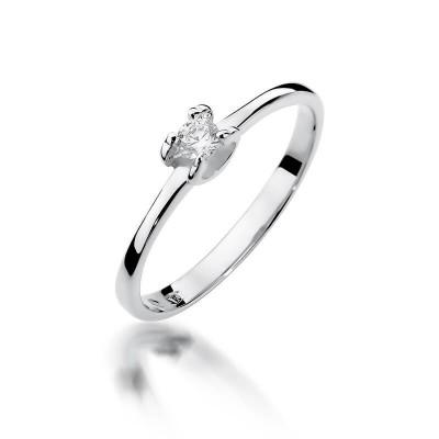 Elegancki pierścionek zaręczynowy białe złoto z brylantem