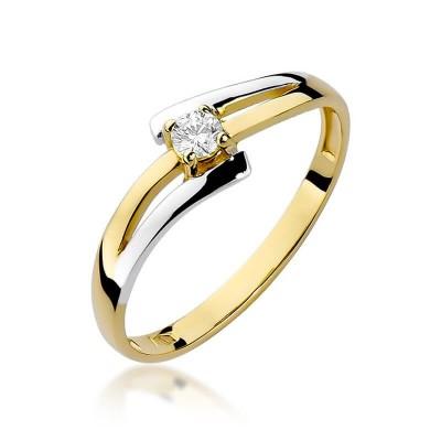Nowoczesny pierścionek żółte złoto z brylantem