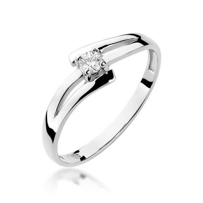 Nowoczesny pierścionek białe złoto 585 z brylantem