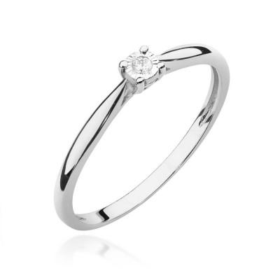 Pierścionek z brylantem na zaręczyny - białe złoto