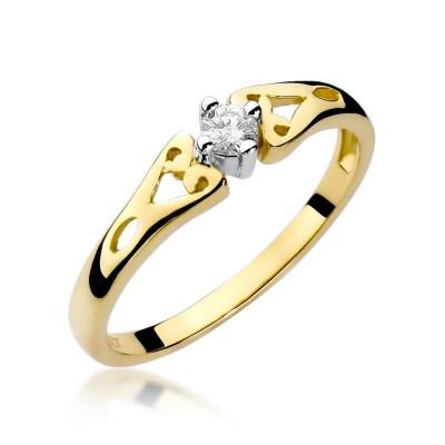 Złoty pierścionek z brylantem dla ukochanej