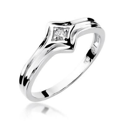 Pierścionek na zaręczyny białe złoto
