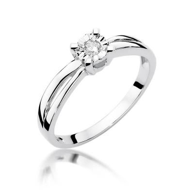 Pierścionek z brylantem białe złoto Idealny na zaręczyny