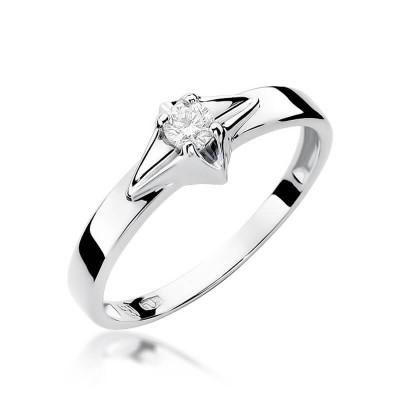 Pierścionek z brylantem na zaręczyny białe złoto – dedykacja gratis