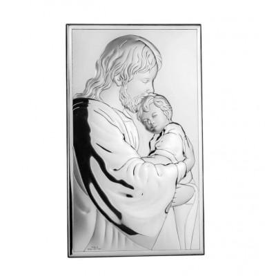 Srebrny obrazek Jezus Chrystus i Dziecko