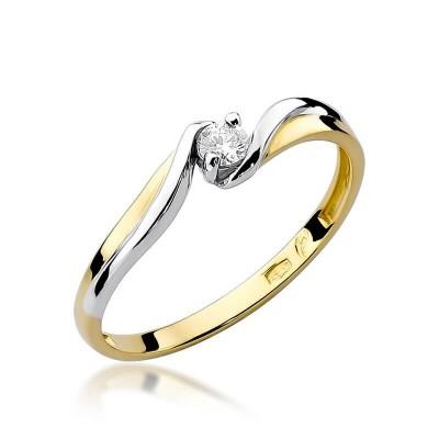 Pierścionek z brylantem prezent z żółtego złota