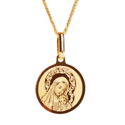 matka boża z dzieciątkiem - medalik złoty z łańcuszkiem