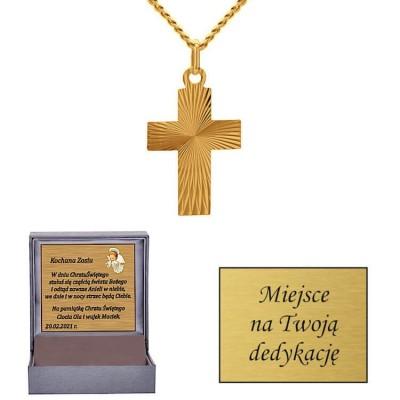 Złoty krzyżyk - prezent na chrzest, komunię...