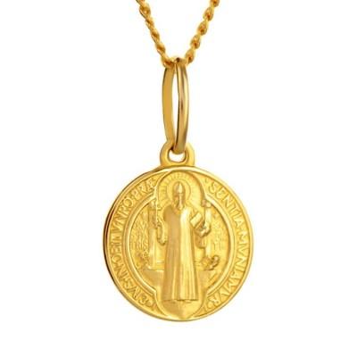 Złoty medalik z św. Benedyktem