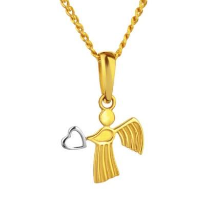 złota zawieszka Aniołek z serduszkiem