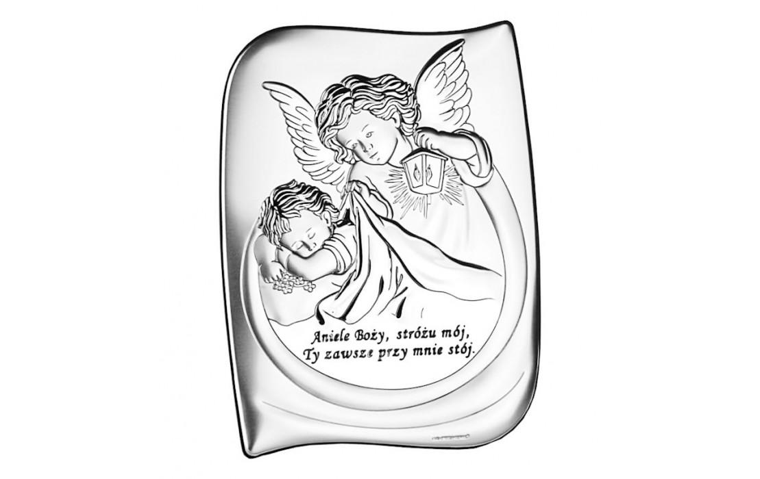 Obrazek srebrny anioł stróż pamiątka chrztu